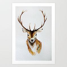 Buck - Watercolor Art Print by craftberrybush - $22.00