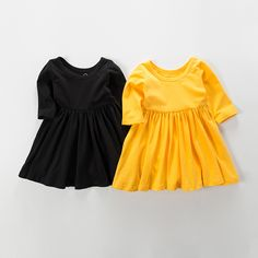 Everweekend Girls Ruffles Dress Lovely Kids Yellow and Black Color Cotton Clothes Princess Western Fashion Summer Party Clothes  #Affiliate