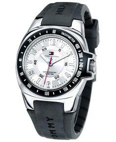 Tommy Hilfiger Watch, Men's Rubber Strap 1790485 black & white dial