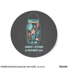 Chalkboard beach mason jar cute wedding stickers