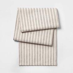 "14""X108"" Neutral Stripe Yarn Dye Table Runner Brown - Threshold™ : Target"