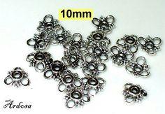20 Perlenkappen 10mm massiv Blüte  K51.10.5 von Schmuckmaterial