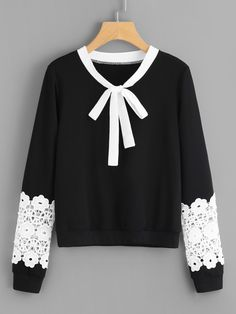 To find out about the Contrast Crochet Bow Tie Neck Pullover at SHEIN, part of our latest Sweatshirts ready to shop online today! Casual Hijab Outfit, Casual Fall Outfits, Cute Outfits, Frock Fashion, Hijab Fashion, Fashion Outfits, Blouse Styles, Blouse Designs, Sunmer Dresses