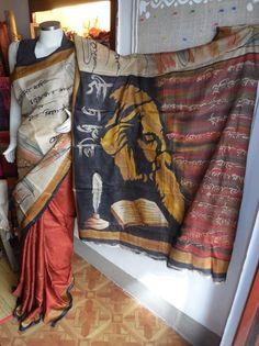 Handpainted ghicha saree..... Tagore tributr