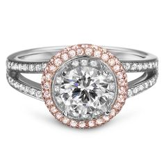 Design your perfect engagement ring by using The Vow App for iPhone and Android. Engagement Ring with Natural Pink Diamond Halo by Diadori