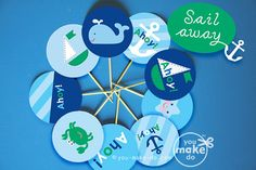 INSTANT DOWNLOAD nautical party circles nautical baby by youmakedo, $3.50