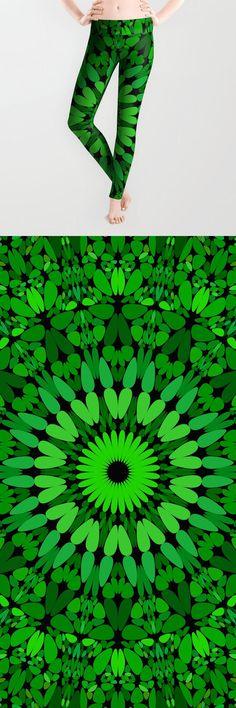 Deep Green Leaves Mandala Leggings by davidzydd Boho Chic, Bohemian, Sacred Geometry, Printed Leggings, Green Leaves, Boho Fashion, Women Wear, Deep, Gift Ideas
