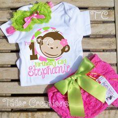 Pink Mod Monkey Personalized Petti Lace Set