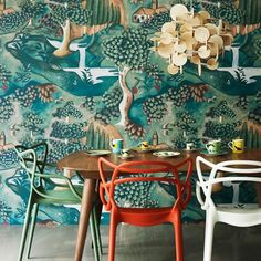 Dining Room Lighting: Decorating Ideas: Interiors Going for an abstract look? Mix up a tropical pattered wallpaper with a kooky hanging shade, like this flurry of hanging wood-coloured circles. Mismatched crockery and bright pops of colour from chairs complete the look. redonline.co.uk Photo by Heals