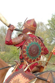 Leather armor by Zoltán Koszta, via Behance Medieval Armor, Medieval Fantasy, Barbarian Armor, Horse Armor, Ancient Near East, Traditional Archery, Leather Armor, Zbrush, Larp