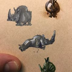 Couple thumbnail rhino doodles #prismacolormarkers #prismacolorpencils #animalart #rhinoceros #shapedesign #characterdesign #personality #movement