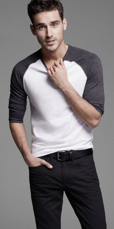 There's nothing better than a guy in a Baseball Tee and Rocco Jeans #Express #mensfashion #weekendstyle