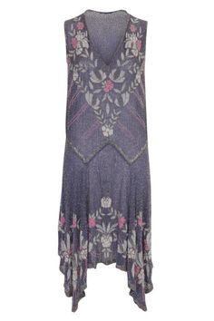 1920s Navy Floral Deep V and Hem Dress