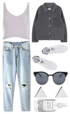 """need you"" by grey-eyes ❤ liked on Polyvore featuring River Island, adidas Originals, Quay and Jennifer Meyer Jewelry"