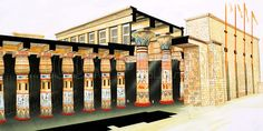 Cutaway reconstruction of the Great Hypostyle Hall at Karnak as it originally would have appeared.