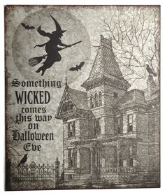 This Galvanized metal sign says it all. Something Wicked This way comes. It measures 11 X 13 and is sure to put some spook in your home decor. Spooky Halloween Decorations, Halloween Home Decor, Halloween House, Halloween Cards, Wicked Book, Classy Halloween, October Country, Something Wicked, Halloween Pictures