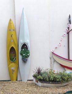 kayaks and a rowboat