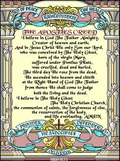 ILLUSTRATION OF THE APOSTLES' CREED FROM ABDA ACTS ART AND PUBLISHING - I believe in God the Father...