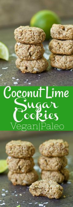 Coconut Lime Sugar Cookies (Paleo & Vegan) - Deliciously crispy and soft cookies packed with lime and coconut flavor! Paleo and Vegan. Paleo Sweets, Paleo Dessert, Healthy Desserts, Dessert Recipes, Paleo Cookies, Sugar Cookies, Atkins, Paleo Recipes, Whole Food Recipes