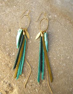 Leather Fringes Earrings Turquoise leather Earrings by ZOZidesign