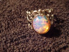 Fire Opal Antique Silver Filigree Ring by ClockworkAlley on Etsy, $13.50