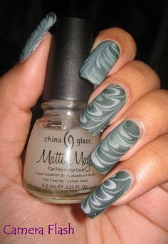 My Simple Little Pleasures: NOTD Green & Grey Water Marble - Matte-ified See the tutorial:  http://youtu.be/m1TRRXUmsYY