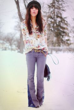 DIRTY HAIR HALO: DIY lace inset flare jeans