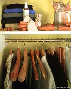 Tip of the Day: Bring a breath of fresh air into your closet and protect your clothes at the same time. Make small sachets of dried rosemary and lavender to keep your closet smelling fresh, and add a few scoops of cedar to keep moths away.