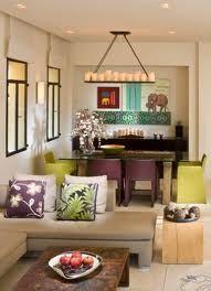 Chartreuse purple aqua room