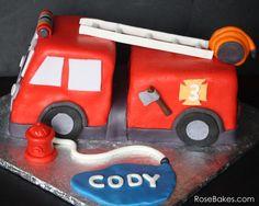 Fire Truck Birthday Cake. Click over for more pics and details! by @RoseBakes.com.com