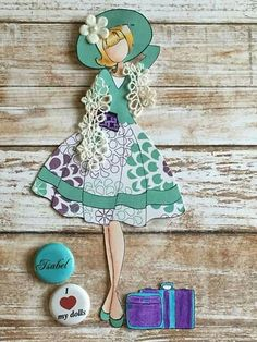 Made by Libelula Isabel. Paper Doll Craft, Prima Paper Dolls, Prima Doll Stamps, Paper Crafts Origami, Doll Crafts, Scrapbook Paper Crafts, Fun Crafts, Diy And Crafts, Arts And Crafts