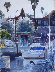 "Marina del Rey, California  Original Watercolor Painting 11"" x 15""   Acuarela sobre papel"