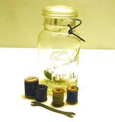 Vintage Ball Jar with lid and sewing accessories. $12.00, via Etsy.