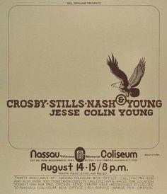 Rock Posters, Band Posters, Music Posters, Nassau Coliseum, Crosby Stills & Nash, Bill Graham, Vintage Concert Posters, Stadium Tour, Sweet Memories