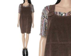 90s Corduroy Overall Jumper Dress Brown Wide Wale Boho Hipster Grunge Clothing Womens Size Medium