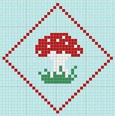 Toadstool - free cross stitch or hama bead chart