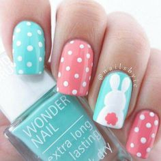 Adorable Easter Nail Art Designs You Must Try Easter nails; Egg And Bunny Nail Art Designs; Easter Nail Designs, Easter Nail Art, Nail Designs Spring, Nail Art Designs, Nails Design, Nail Art Ideas, Wonder Nails, Bunny Nails, Nagel Blog