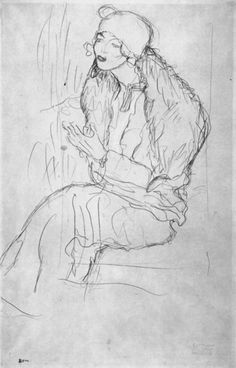 "Portrait of a seated lady with boa, Study for ""The Polecat Fur"" Gustav Klimt 1916"