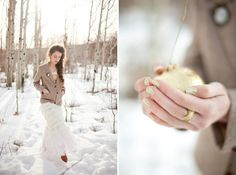 It's a cute Valentines Day photo-shoot. I really like the white dress with the snow and the overall white theme.