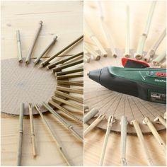 A new look: DIY sun mirror - Décoration et Bricolage Diy Crafts For Home Decor, Diy Garden Decor, Diy Crafts To Sell, Diy Room Decor, Ideas Habitaciones, Spiritual Decor, Diy Organisation, Creation Deco, Boho Diy