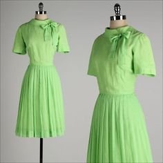 vintage 1950s dress . lime green cotton . by millstreetvintage, $55.00