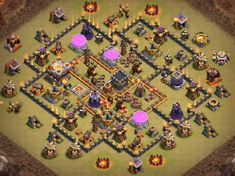 OMG These anti dragon base designs are really cool because of which dragons stopped flying after seeing this town hall 8 base layouts and killed themselves. Clash Of Clans Levels, Dragon Base, War, Shiva, Design, Lord Shiva