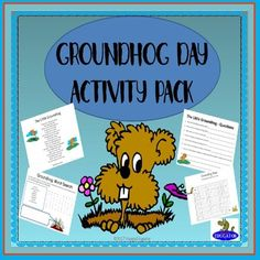 Groundhog Day Activities. Fun packet for Groundhog Day and early February! Includes an original groundhog rhyming poem to read with questions, a word search puzzle, a maze, fun facts for Groundhog Day, weather and season words, poster,  6 week weather graphing activity and chart, Ground Hog word problem activity, mini Groundhog Day color book, Groundhog Day dot to dot with odd numbers, a delicious recipe for a groundhog treat, and four Groundhog Day bookmarks. 20 pages.