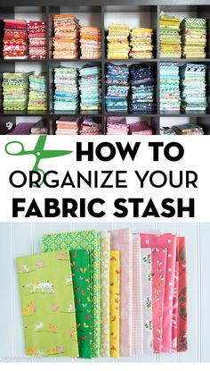 How to fold fabric neatly and how to organize fabric by color. Folding fabric into stacks. 5 clever tips to help you organize fabric. Keep your fabric stash organized with these simple tips, how to fold fabric for storage. Sewing Room Storage, Sewing Room Organization, Craft Room Storage, Fabric Storage, Craft Rooms, Storage Ideas, Organization Ideas, Storage Bins, Organizing Drawers