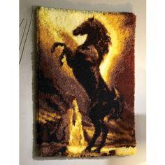 Black Stallion Rug - Latch Hook Rug Kits - Latch Hook - Crafts Homemade Rugs, Latch Hook Rug Kits, Horse Rugs, Rug Hooking, Cute Baby Animals, Black Stallion, Cross Stitch Patterns, Horses, Crafty