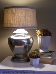 Thrift Store Lamp Mercury 'Mirrored' Glass Makeover with Covered Shade - bystephanielynn