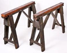 old portable factory work table wood sawhorse bases