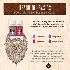 Today's DIY is for the men. This beard oil will make your beard softer and more sleek looking, as well as moisturizing your skin! Essential Oil For Men, Coconut Essential Oil, Oils For Men, Homemade Essential Oils, Yl Essential Oils, Doterra Oils, Young Living Essential Oils, Essential Oil Blends, Mens Beard Oil