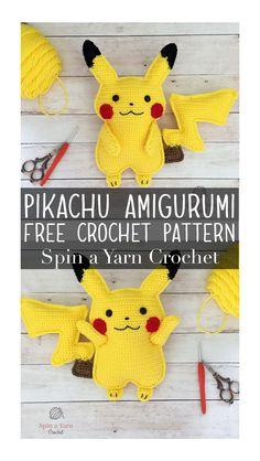 Pikachu Amigurumi : A free crochet pattern from Spin a Yarn Crochet Crochet Pattern Free, Minion Crochet Patterns, Minion Pattern, Pokemon Crochet Pattern, Pikachu Crochet, Kawaii Crochet, Mini Amigurumi, Crochet Patterns Amigurumi, Crochet Dolls