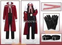 Best Black Butler Grell Sutcliff Cosplay + Glove + Belt Red 100cm Wig Custome Made Online with $76.09/Piece | DHgate